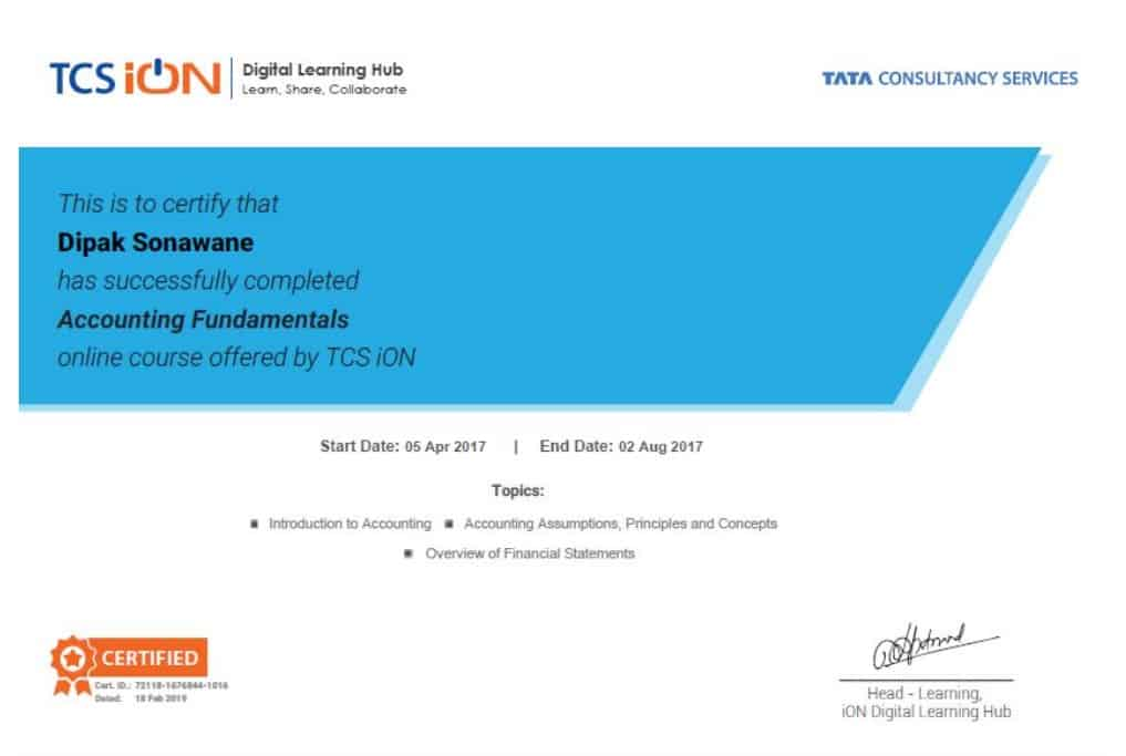 TCS iON Digital Learning Hub Accounting Fundamentals Free Course With Certificate