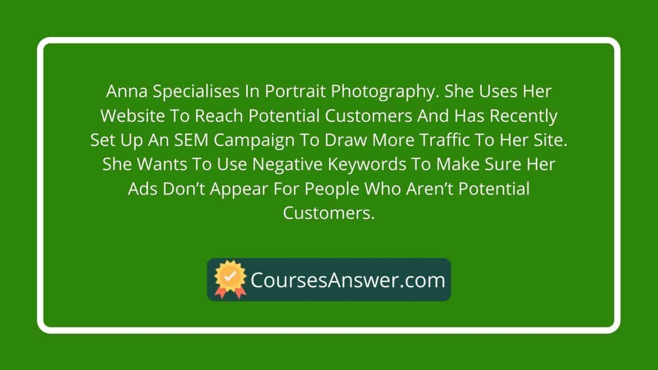 Anna specialises in portrait photography. She uses her website to reach potential customers and has recently set up an SEM campaign to draw more traffic to her site. She wants to use negative keywords to make sure her ads don't appear for people who aren't potential customers.