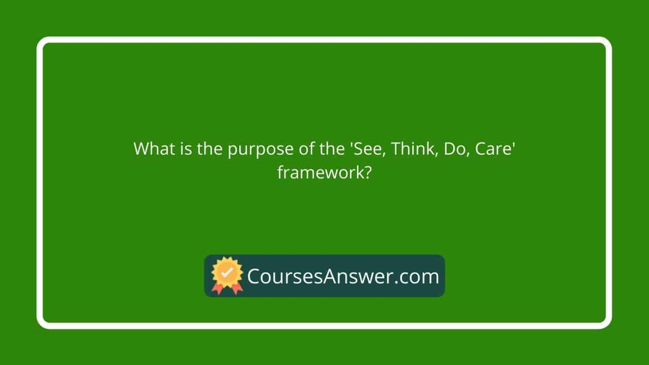 What is the purpose of the 'See, Think, Do, Care' framework?